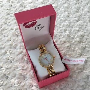 Betsey Johnson Watch Gold Chainlink New in Box